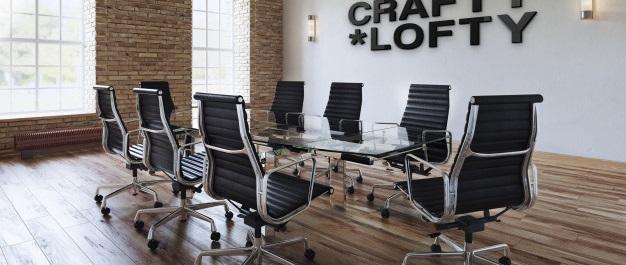 maqueta logotipo negro office 3d elegante espacio trabajo interior business loft 75507 242 1